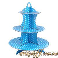 """Подставка под пирожные на детский праздник """"Синяя в горошек"""", 35 см"""