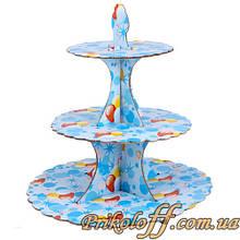 """Підставка під тістечка на дитяче свято """"Повітряні кульки"""", 33 см"""
