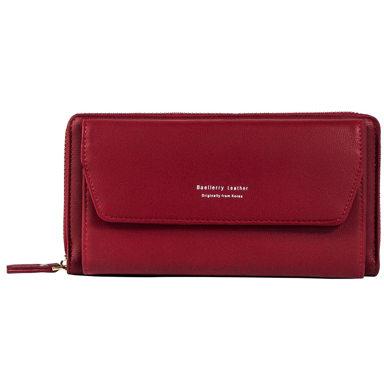 Женский Кошелек Клатч Baellerry Leather (N5509) на Молнии для Карточек с Ремешком Красный