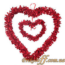 Серце підвісне подвійне 5х32х34см, фольга
