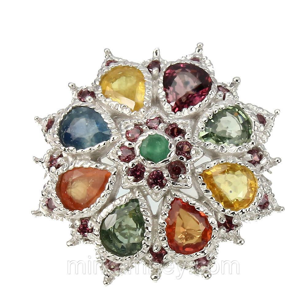 Кольцо Цветной Сапфир (Африка), Изумруд, Родолит Гранат. Размер 19. Серебро 925, покрытие белым золотом