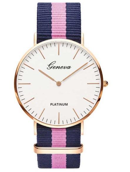 Часы наручные унисекс Geneva Platinum на ремешке в полоску
