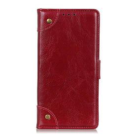 Чехол книжка для LG G8 ThinQ G820N боковой с отсеком для визиток, Retro style, красный
