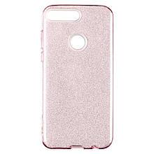 Чехол накладка силиконовый Remax Glitter для Huawei Y7 Prime 2018 розовый