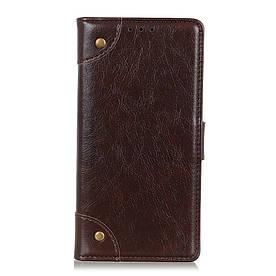 Чехол книжка для LG G8 ThinQ G820N боковой с отсеком для визиток, Retro style, темно-коричневый