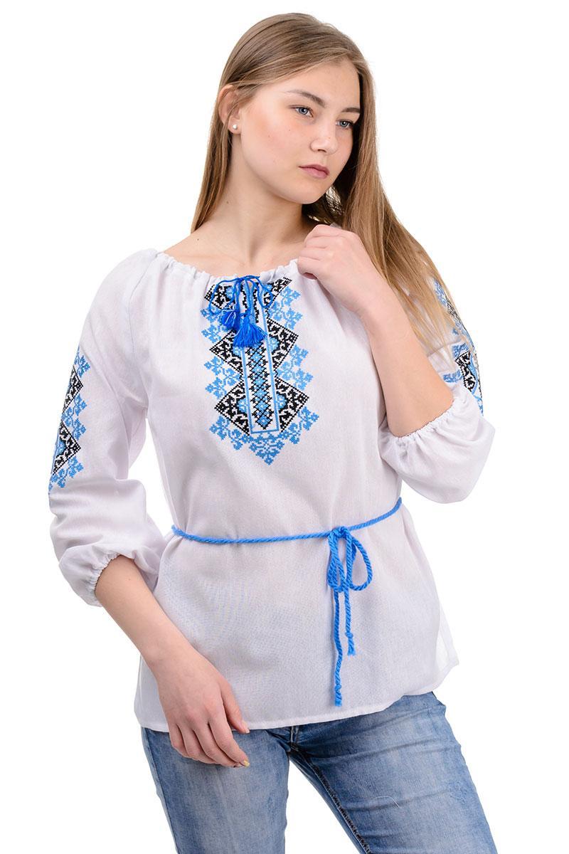 Женская вышиванка Украиночка (голубая вышивка)