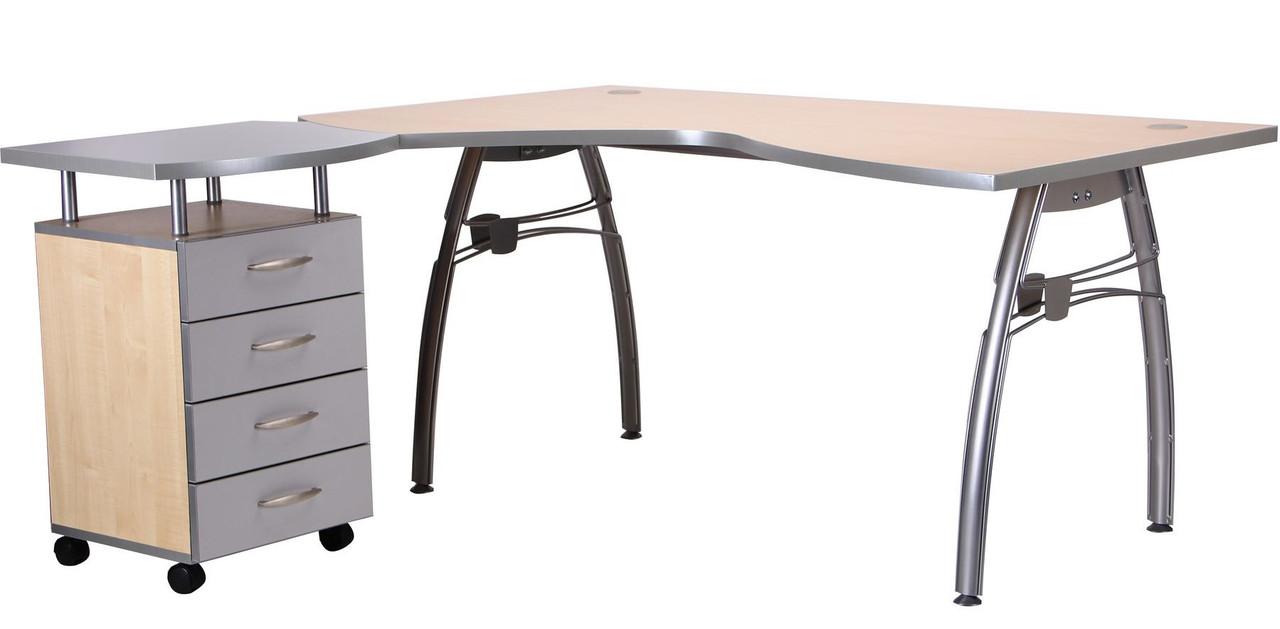 Стол с тумбой М96 АртМобил (1600х900/1630х760мм) клен/кромка серый металлик/металлический каркас TM AMF