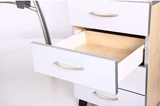 Стол с тумбой М96 АртМобил (1600х900/1630х760мм) клен/кромка серый металлик/металлический каркас TM AMF, фото 2