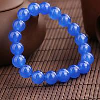 Браслет из синего, натурального кварца (диаметр бусин 10мм)