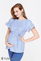 Легкая блузка для беременных и кормления MARION BL-29.032, бело-голубая клетка., фото 1