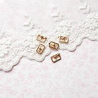 Мини пряжка для кукольной одежды и сумок, прямоугольная, 10*6 мм - золото