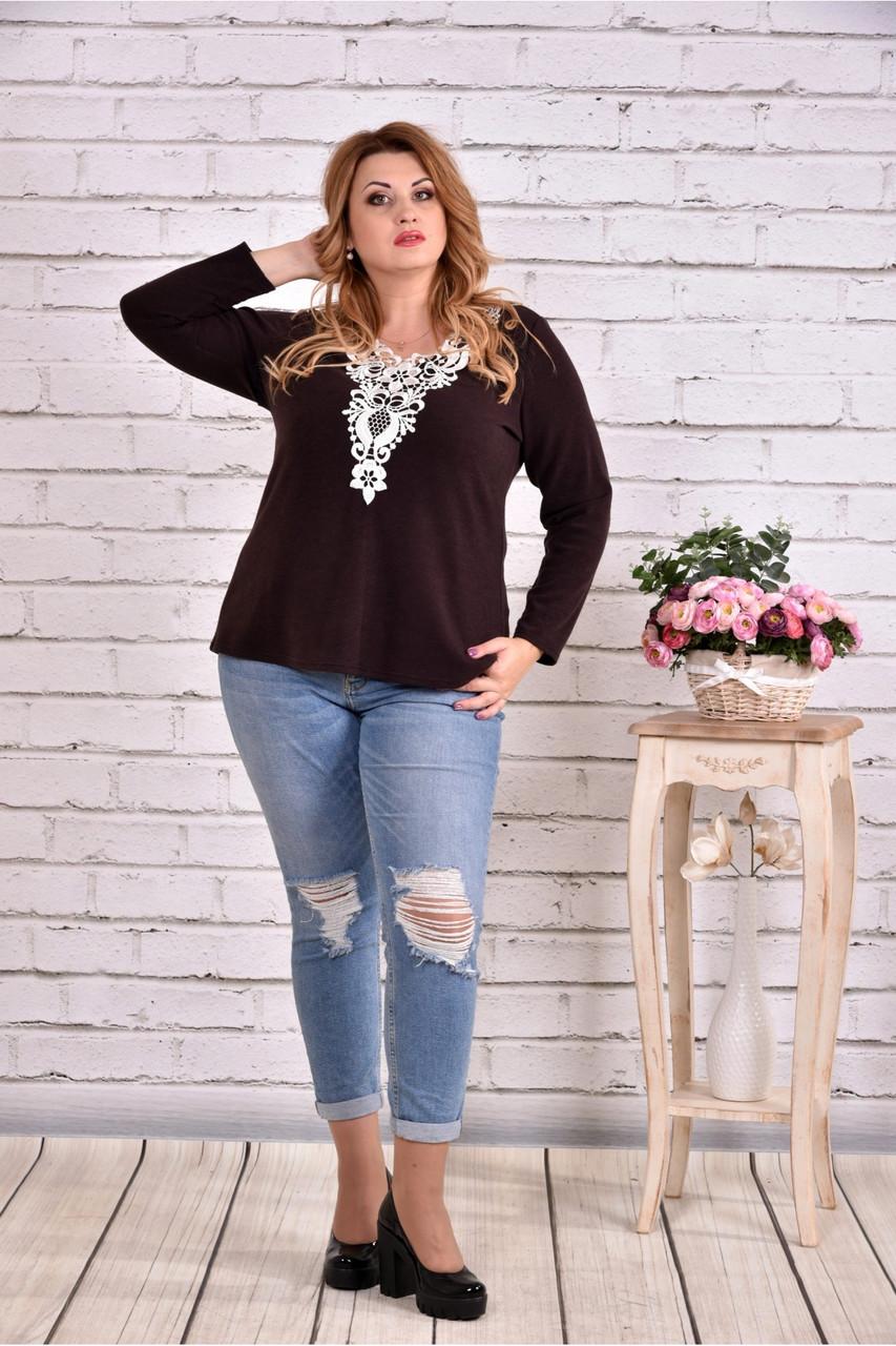 Шоколадная блузка с узором большой размер 42-74.    0609-1