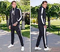 Спортивный мужской костюм Nike две молнии, черного цвета с белыми лампасами