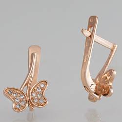Золоті дитячі сережки метелики з фіанітами. СП40935