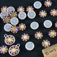 "(≈ 50шт) Объёмные круглые кабошоны, серединки Ø 10 мм ""Мозаика"" (Цена за упаковку) Цвет - на фото"