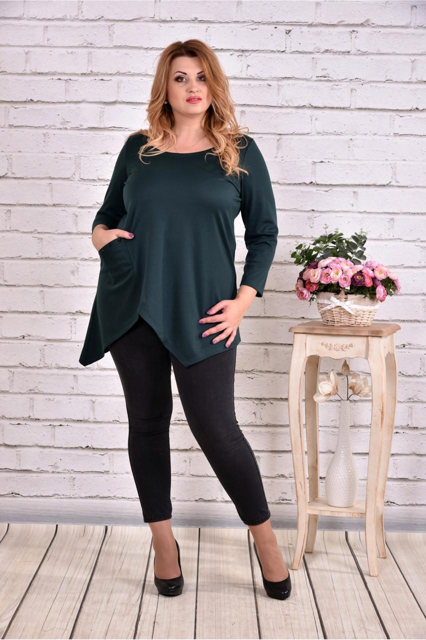 Асиметрична блузка туніка зеленого кольору великого розміру 42-74.