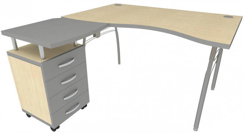 Стол с тумбой М91 АртМобил (1400х900/1630х760мм) клен/кромка серый металлик/металлический каркас TM AMF, фото 2