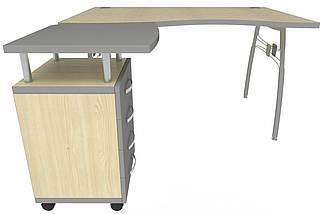 Стол с тумбой М91 АртМобил (1400х900/1630х760мм) клен/кромка серый металлик/металлический каркас TM AMF, фото 3