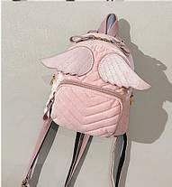 Оригинальный бархатный рюкзак с крыльями для нежных девушек, фото 2