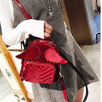 Оригинальный бархатный рюкзак с крыльями для нежных девушек, фото 3