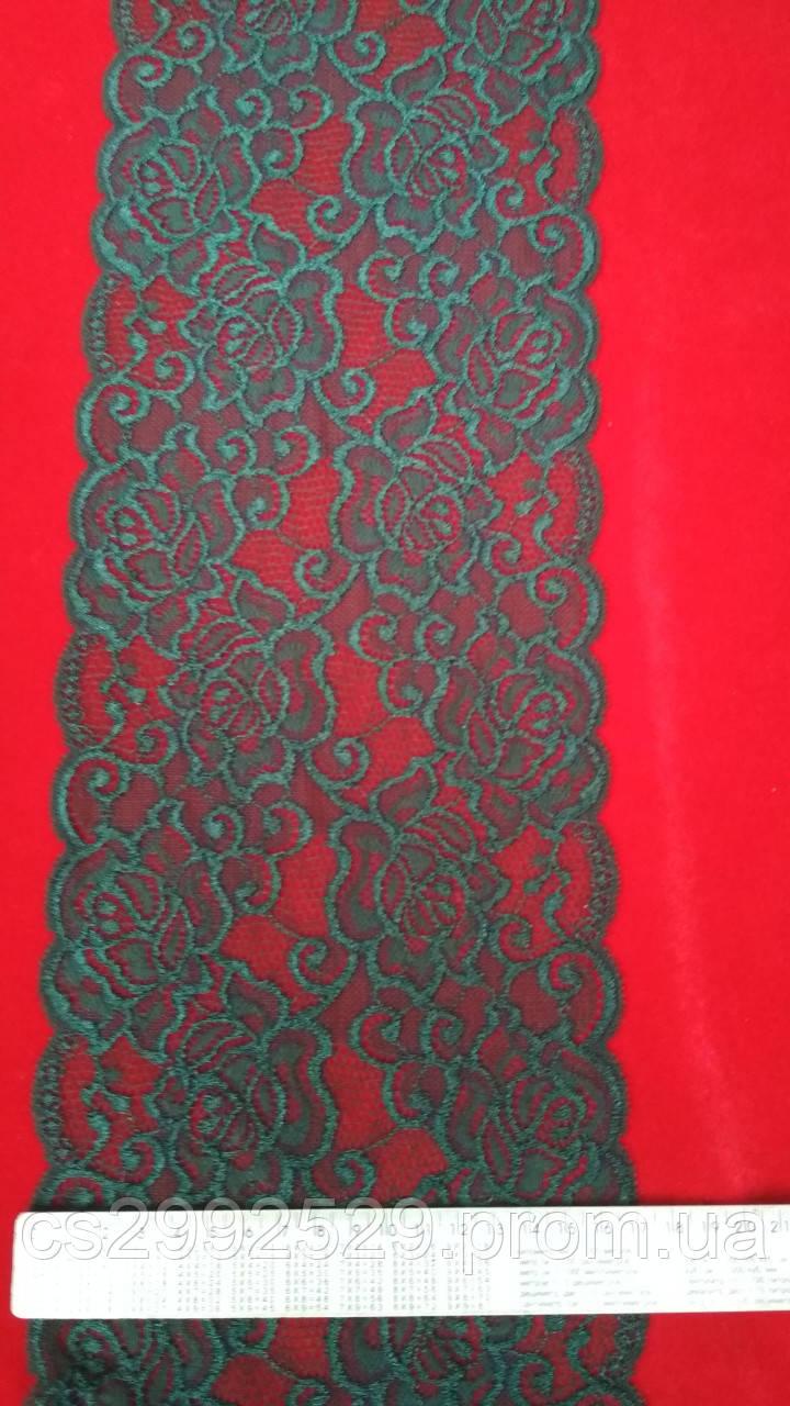 Кружево ажурное эластичное(1м.)зелёный тёмный. Кружево стрейчевое