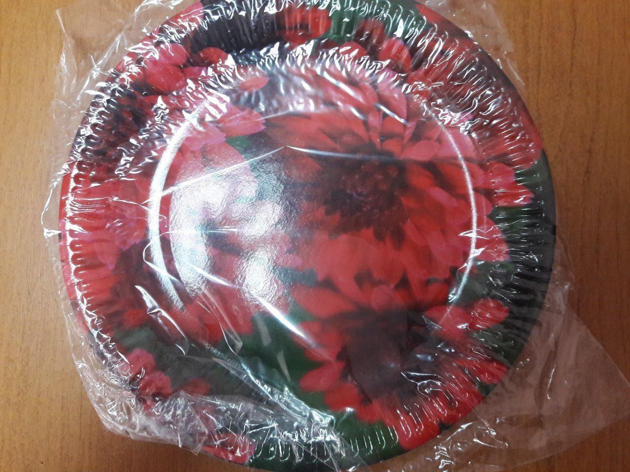 Одноразовая бумажная тарелка 165 мм Хризантема