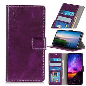 Чехол книжка для LG V50 ThinQ 5G V500N боковой с отсеком для визиток, Гладкая кожа, фиолетовый