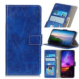 Чехол книжка для LG V50 ThinQ 5G V500N боковой с отсеком для визиток, Гладкая кожа, синий