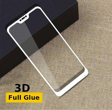 Защитное стекло Optima 3D Full Glue для Xiaomi Redmi 6 Pro White, фото 2
