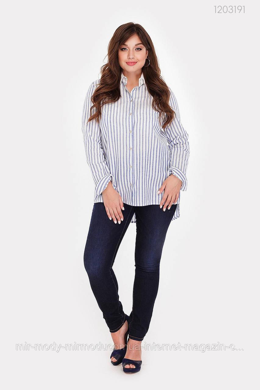 Женская рубашка Дорадо (голубой) лен (3 расцветки) с 48 по 54 размер(рин)