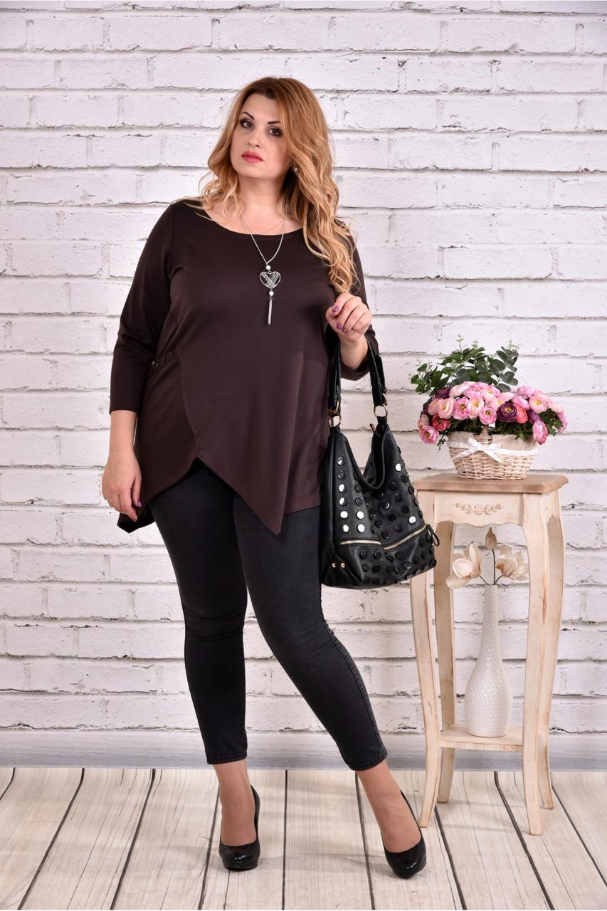 Блузка-туника модного шоколадного цвета большого размера    0612-3