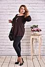 Блузка-туника модного шоколадного цвета большого размера    0612-3, фото 2