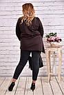 Блузка-туника модного шоколадного цвета большого размера    0612-3, фото 4