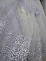 Белая тюль с вышивкой Турция, фото 1