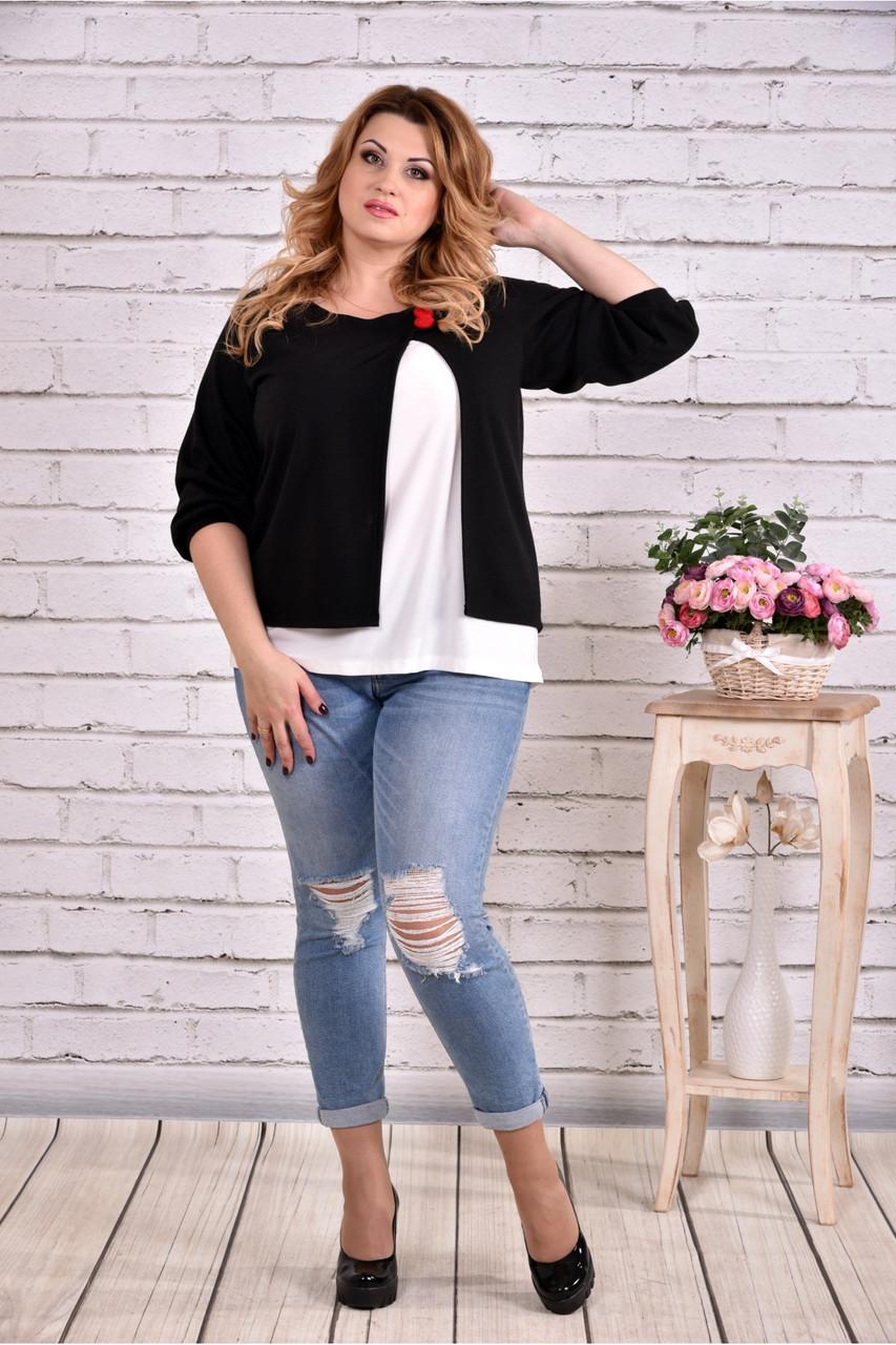 Черная блузка большого размера 42-74.  | 0635-3