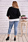 Чорна блузка великого розміру 42-74. | 0635-3, фото 4