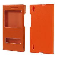 Чехол книжка double window folio для Huawei Ascend P7 оранжевый