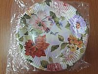 Одноразовая бумажная тарелка ''Цветы'' 165 мм, 10 шт