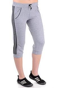 Женские спортивные бриджи с лампасами (меланж+черный)