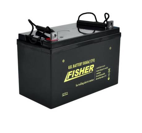 Гелевый аккумулятор лодочный Fisher 80Ah 12B., фото 2