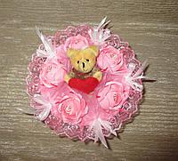 Одноигрушечный букет с мишкой и с Рафаэлло розовый
