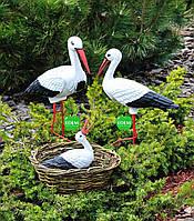 Садовая фигура Семья садовых аистов в гнезде №21