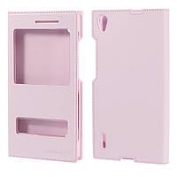 Чехол книжка double window folio для Huawei Ascend P7 розовый