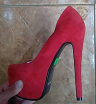 Туфли женские замшевые на каблуке Лабуте$ Loubouti$ красные Код 166, фото 3