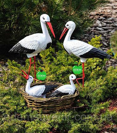 Садовая фигура Семья садовых аистов в гнезде №22, фото 2