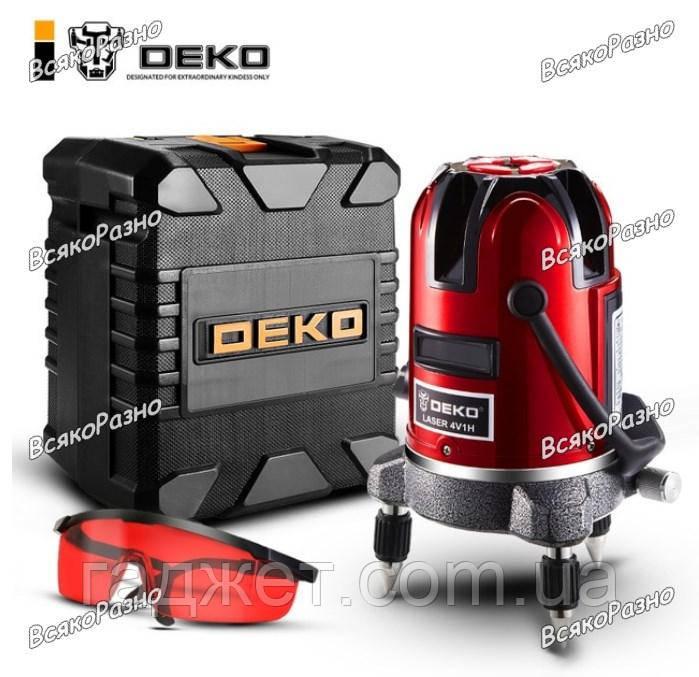 Лазерный уровень(нивелир) 3D deko.Лазерный уровень DEKO  5 линий, 6 точек. в пластиковом кейсе.