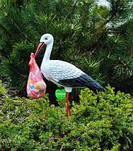 Садовая фигура Семья садовых аистов в гнезде №23, фото 3