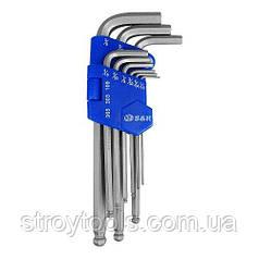 """Набір шестигранних ключів S&R HX 9шт (1/16-3/8"""") в пластиковому кейсі"""