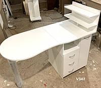 Столик для маникюра с ящиком карго, маникюрный стол с полками для лаков. Модель V342 белый, фото 1