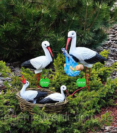 Садовая фигура Семья садовых аистов в гнезде №24, фото 2